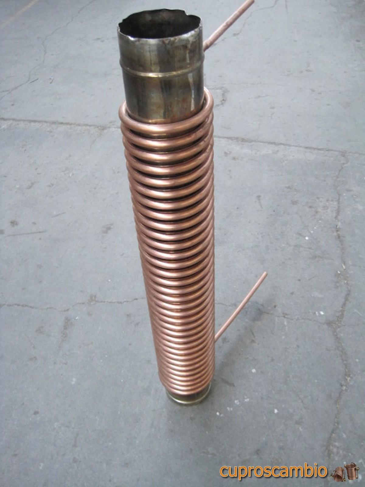 Serpentine in rame liscio e acciaio inox 316 L per il recupero di calore dai fumi
